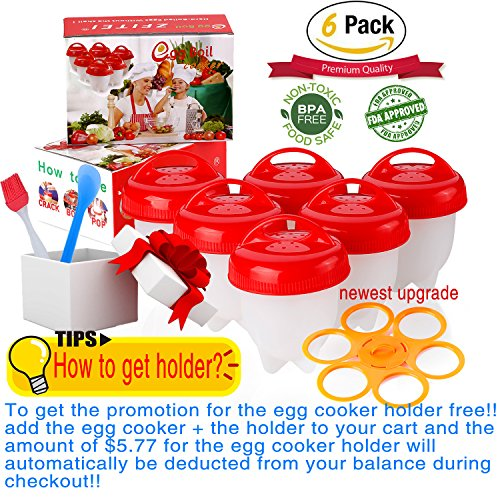 Egglettes Egg Cookers holder,Egg Cooker 6pack ⚠☛Add cookerholder to cart buy together=Get FREE holder⚠❤ Boiled Eggs No shell,hardampSoft MakerNOBPA,Non Stick Silicone,Pls watch videoAs seen On TV