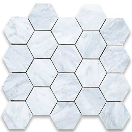 marble hexagon tile. Carrara White Italian Carrera Marble Hexagon Mosaic Tile 3 Inch Honed By Stone Center Online H