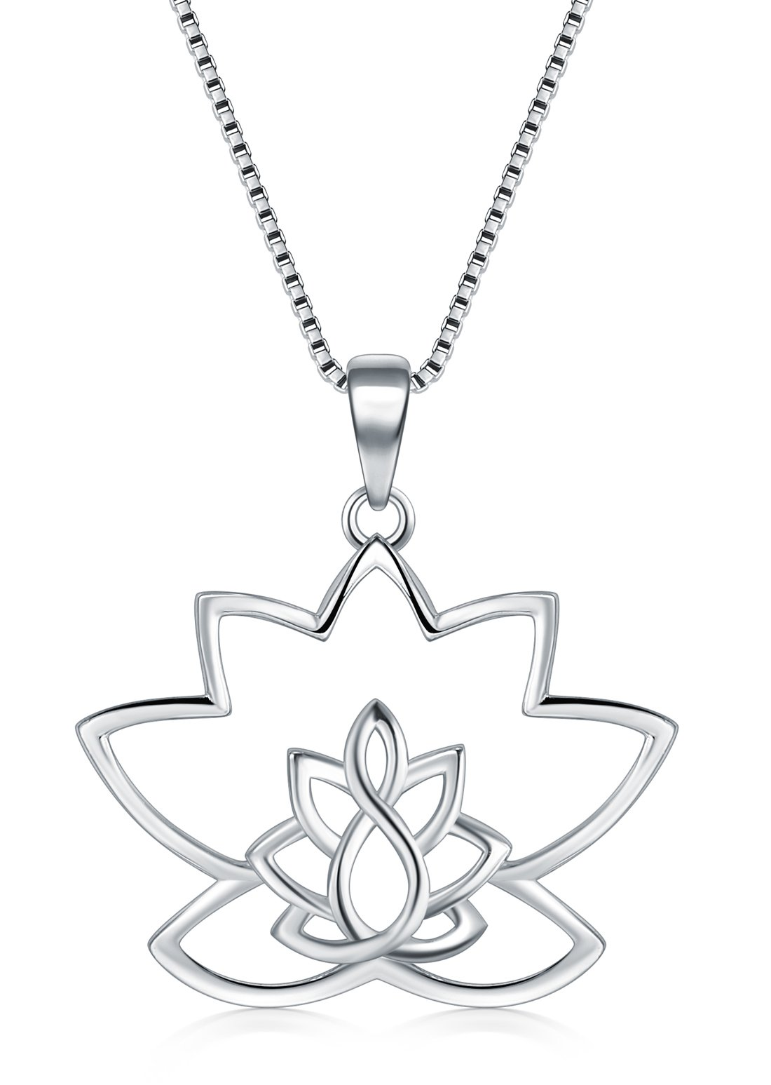 Sterling Silver Necklaces, Boruo 925 Silver Necklaces with Pendant Lotus Flower Yoga Box Chain for Women Charm Jewelry