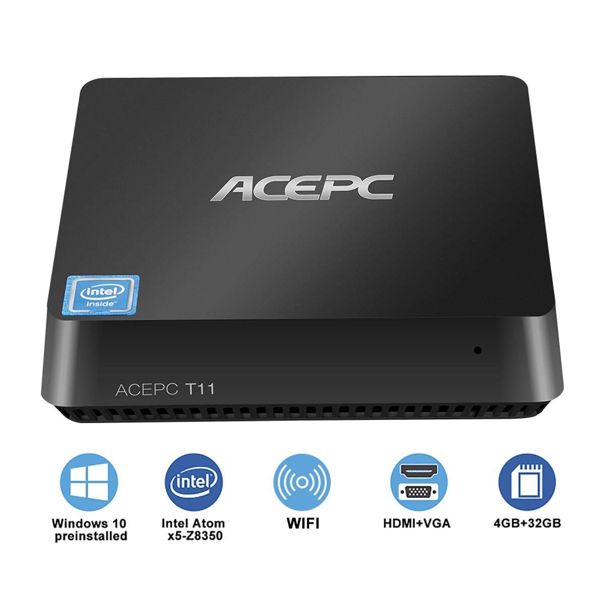 TALLA T11/4GB+32GB/Windows 10 Pro. Mini PC Windows 10 Pro Procesador Intel Atom x5-Z8350 4GB Ram 32GB EMMC Soporte SATA SSD de 2,5 Pulgadas/HDMI y VGA Salida Doble/Dual Wi-Fi/Bluetooth 4.2 / 4K Micro computadora de Escritorio