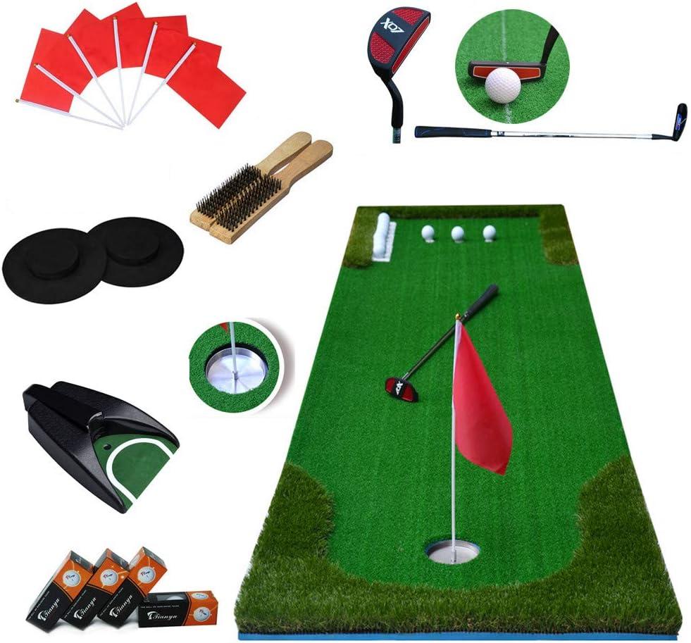 Love life ゴルフ パター練習器折り畳み コンパクトパットゴルフパタートレーナーセット 自動返球 人工芝 ゴルフ練習長い草短い草6球つき パッティング グリーン3mのロング75*300CM