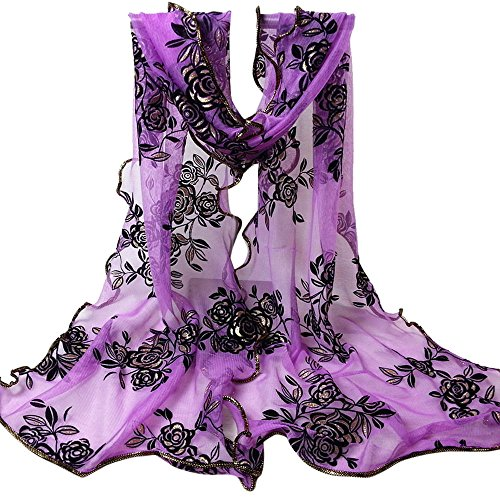 UONQD Women Lady Flower Printing Lace Scarf Long Soft Wrap Shawl Stole Pashmina(OneSize,Purple)