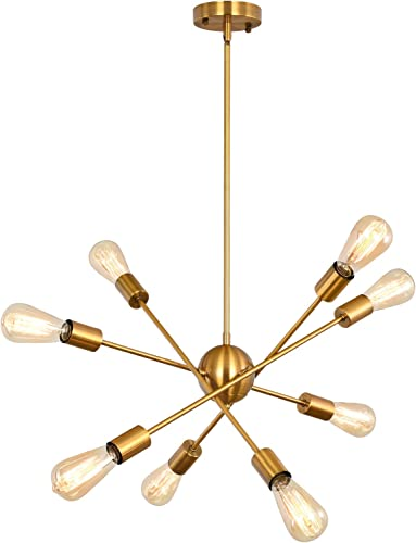 Miduxiy Sputnik Chandelier 8 Lights Modern Gold Lighting Fixtures Ceiling Mid Century Pendant Light Kitchen Dining Room Farmhouse Lighting