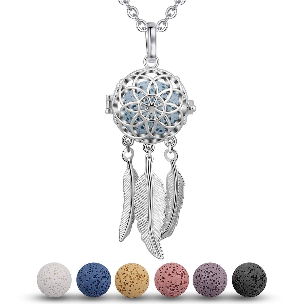 Custom Lava Rock Wire Diffuser Tassel Necklace Aromatherapy Essential Oil oils Jewelry Lotus Yellow Tassels Long Chain Artisan Boho Bohemian