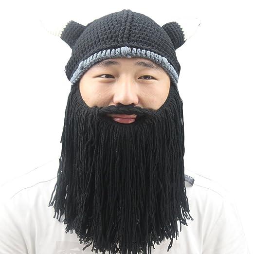 Amazon.com  Men s Cotton Winter Knit Ski Beard Mustache Beanies Hat ... b5bbe8bba4a
