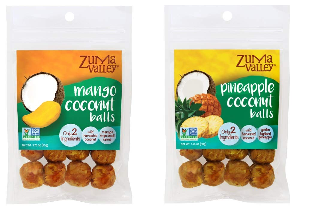 Zuma Valley, Snack Ball Variety Pack - 3 packs of each flavor: Mango and Coconut, Pineapple and Coconut, Gluten Free, Soy Free, NON-GMO Project Verified, Kosher, All Natural, 1.76 ounce (Pack of 6)