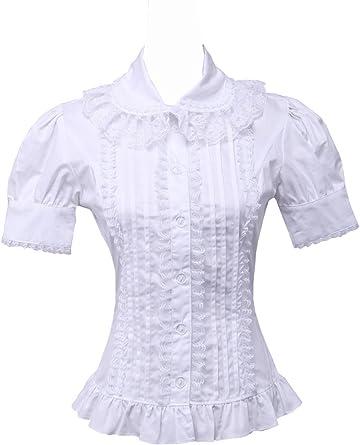 Blanca Algodón Encaje Volantes Classical Victoriana Lolita Casual Camisa Blusa de Mujer: Amazon.es: Ropa y accesorios
