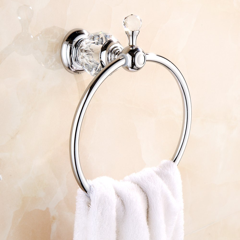 Nokozan Luxury Crystal Series Oil-Rubbed Bronze Fished Batrhoom Towel Ring Holder Wall Mouted