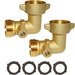 "HQMPC 90 Degree Garden Hose Elbow with Shut Off Valve Hose Elbow 3/4"" GHT Garden Hose Elbow Brass Garden Hose RV Adapter Water Hose 90 Degree Eelbow with 4 Pcs Washers"