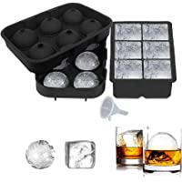 Totem Ice Cube Trays Silicone Set of 2, Sphere Ice Ball Maker with Lid and Large Square Ice Cube Molds for Whiskey…