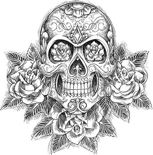 Divine Designs Detailed Black and White Dia de Los Muertos Skull with Roses Vinyl Decal Sticker (4