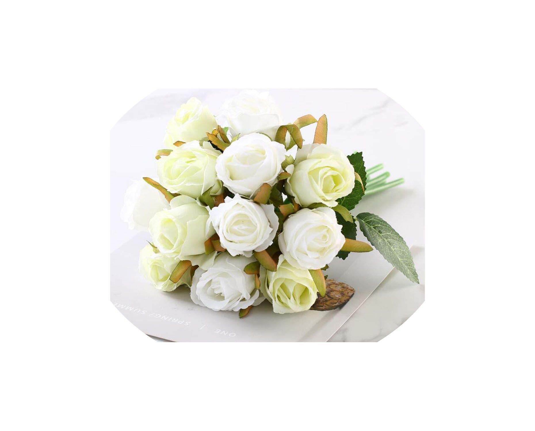 12pcs/Lots Artificial Rose Flowers Wedding Bouquet Silk Rose Flowers for Home Party Decoration Wedding Fake Flower,White Green