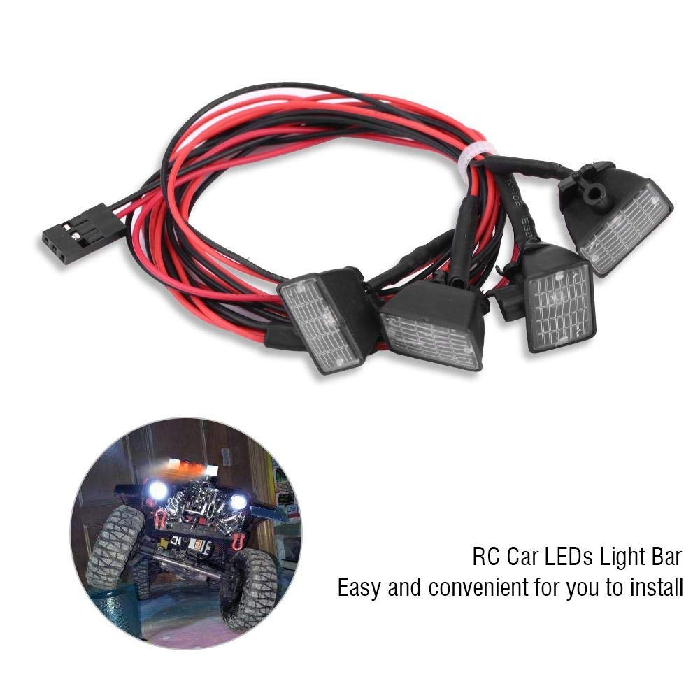 Jadpes RC Light RC Crawler Roof Lights LEDs Light Bar Lamp Accessory for Axial scx10 Traxxas trxs-4 Car Most of 1//10 RC Model Crawler Car 4LED White Light
