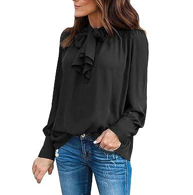 a1a240087de Zaaale Women s Tie Neck Long Puff Sleeve Dressy Shirts Drape Blouse Tops  (S