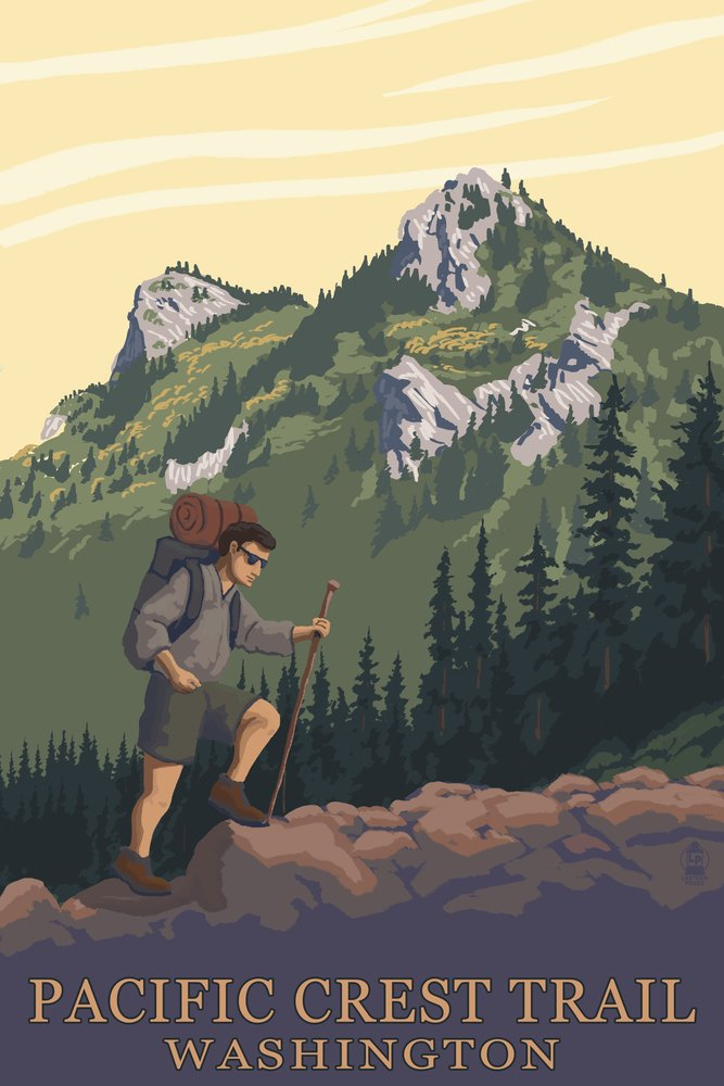 Pacific Crest Trail, Washington - Mountain Hiker (24x36 Fine Art Giclee Gallery Print, Home Wall Decor Artwork Poster)