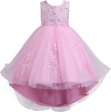 Kids Girls Dress Flower Princess Formal Party Wedding Bridesmaid Prom Size 2-15T