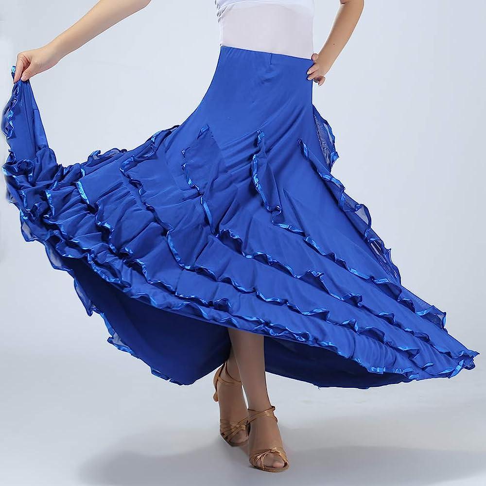 Tookang Traje de Baile Moderno Falda de Baile Flamenco de Mujer ...