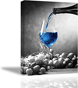 Tku's Red Wine Glass Wall Art Grapes and Blue Wine Cup Wall Decor Modern Black and White Background Canvas Oil Painting Framed Home Decoration for Kitchen (Ready to Hang)