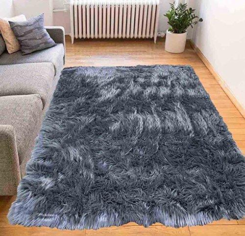 Furry Fluffy Fuzzy Soft Solid Faux Fur Sheepskin Lambskin Sheep Hide Animal Skin Livingroom Bedroom Nursery Room Floor Rug Carpet Area Rug Indoor Charcoal Gray Grey 6x9 Large (Fur Shaggy Gray Grey)