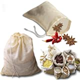 kingleder 12Pack Reusable Drawstring Cotton Soup Bags, Straining Herbs Cheesecloth Bags, Coffee Tea Brew Bags, Soup Gravy Bro