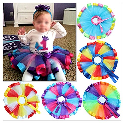 MsJune Little Girls Rainbow Tutu Skirt Dance Dress Ruffle Tiered Club Party