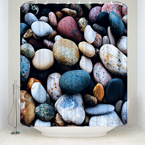 (T&H Home Colorful Pebble Shower Curtain Rock In The River Blue/Brown/White Peaceful Place Frabic Waterproof And 100% Polyester (66x72))