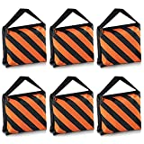 Neewer® Set of 6 Black/Orange Sandbag Photography Studio Video Stage Film Sandbag Saddlebag for Light Stands Boom Arms Tripods