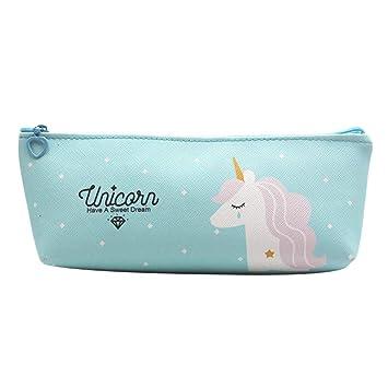 Estuche para lápices de unicornios para niños, bolígrafo de unicornio con cremallera, organizador de