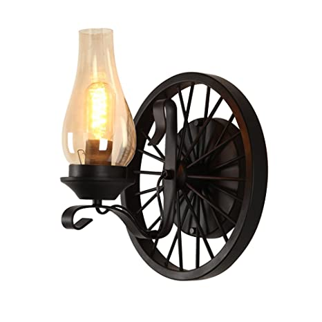separation shoes 22a0c 858ea JinYuZe Vintage Gas Light Inspired Wall Sconce with Glass Chimney Shade  Rustic Wheel Backplate Black (Single Light)