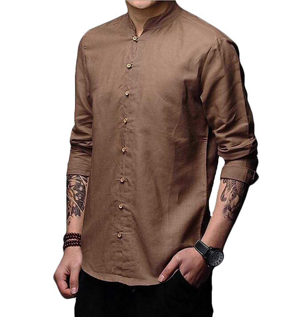 BYWX Men Long Sleeve Chinese Style Retro Casual Button Up Shirts