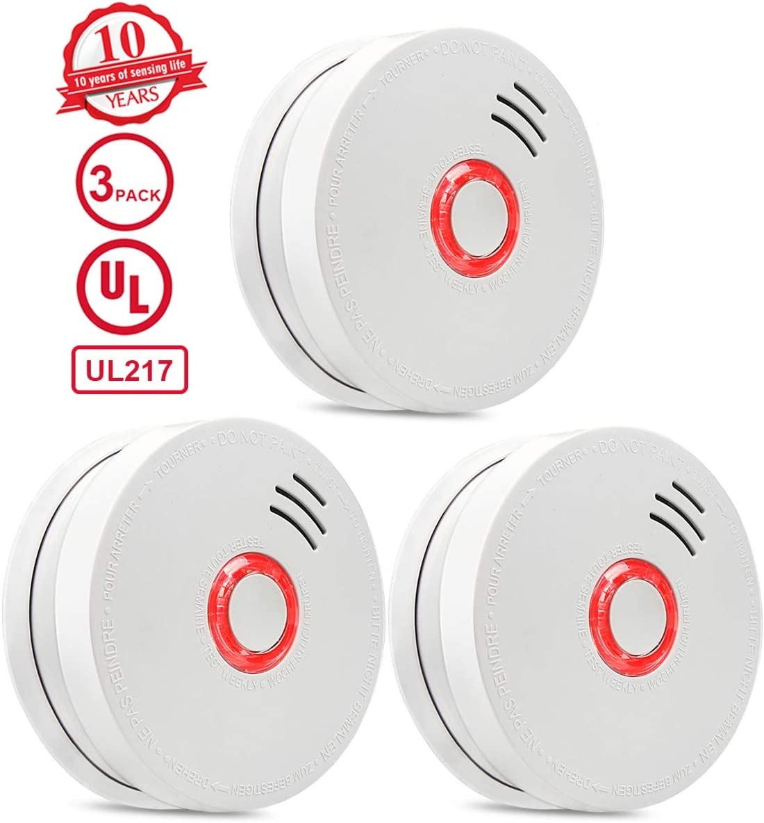 Smoke Detector 3 Packs Photoelectric Smoke Alarm Fire Alarm With Light Sound Warning 9v Battery Included Powered Fire Safety For Home Hotel School Etc Passed Ul Certification Amazon Com