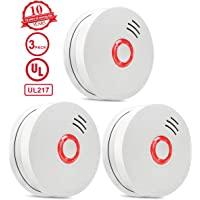 Smoke Detector and Fire Alarm,3 Packs Photoelectric Smoke Alarm with Light Sound Warning 9V Battery (Included) Powered Fire Safety for Home Hotel School etc Passed UL Certification