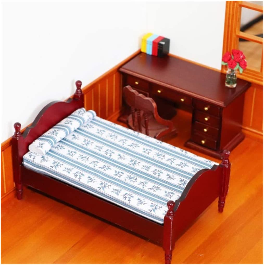 Mini Dollhouse Accessories,Dollhouse Furniture 1:12 Scale Miniature Bed, Dollhouse Kit Accessories Pretend Play Toy for Boy Girl Bedroom Living Room