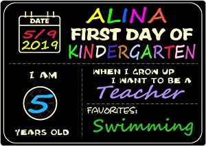 Supoice First Day of School Sign Large Size 10 x 14 Inch Reusable and Easy Clean Wood Chalkboard Photo Prop Back to School Signs