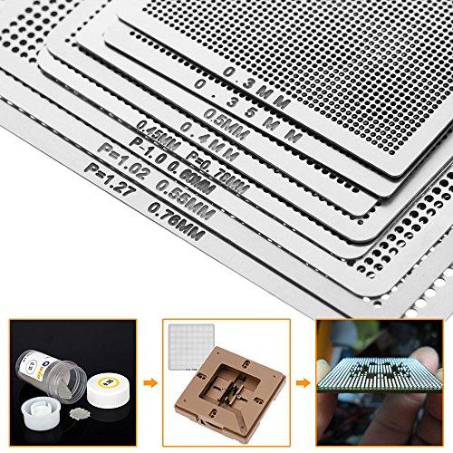 Walmeck 8pcs Mini Universal BGA Direct Heat Stencils Set Reballing Acessories 0.3mm 0.35mm 0.4mm 0.45mm 0.5mm 0.55mm 0.6mm 0.76mm