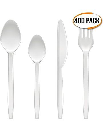 400 Cubiertos Desechables de Plástico Blanco - Durable, Sin BPA - Lavable y Reutilizable -