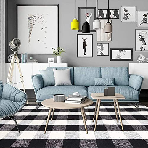 Homocomoda Cotton Buffalo Area Rug 5 7 X 7 7 Plaid Checkered Rugs Hand Woven Floor Mats Runner Carpet Black White