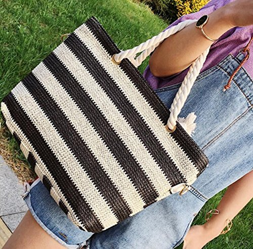 Beach Straw Bag Bar Meaeo Bag Bag Color Single Beach Women'S Woven Zipper Straw Beach Bag Shoulder Woven 7zwT7Z