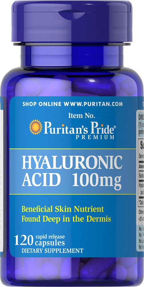 Puritans Pride Hyaluronic Acid 100 Mg-120 Capsules, 120 Count