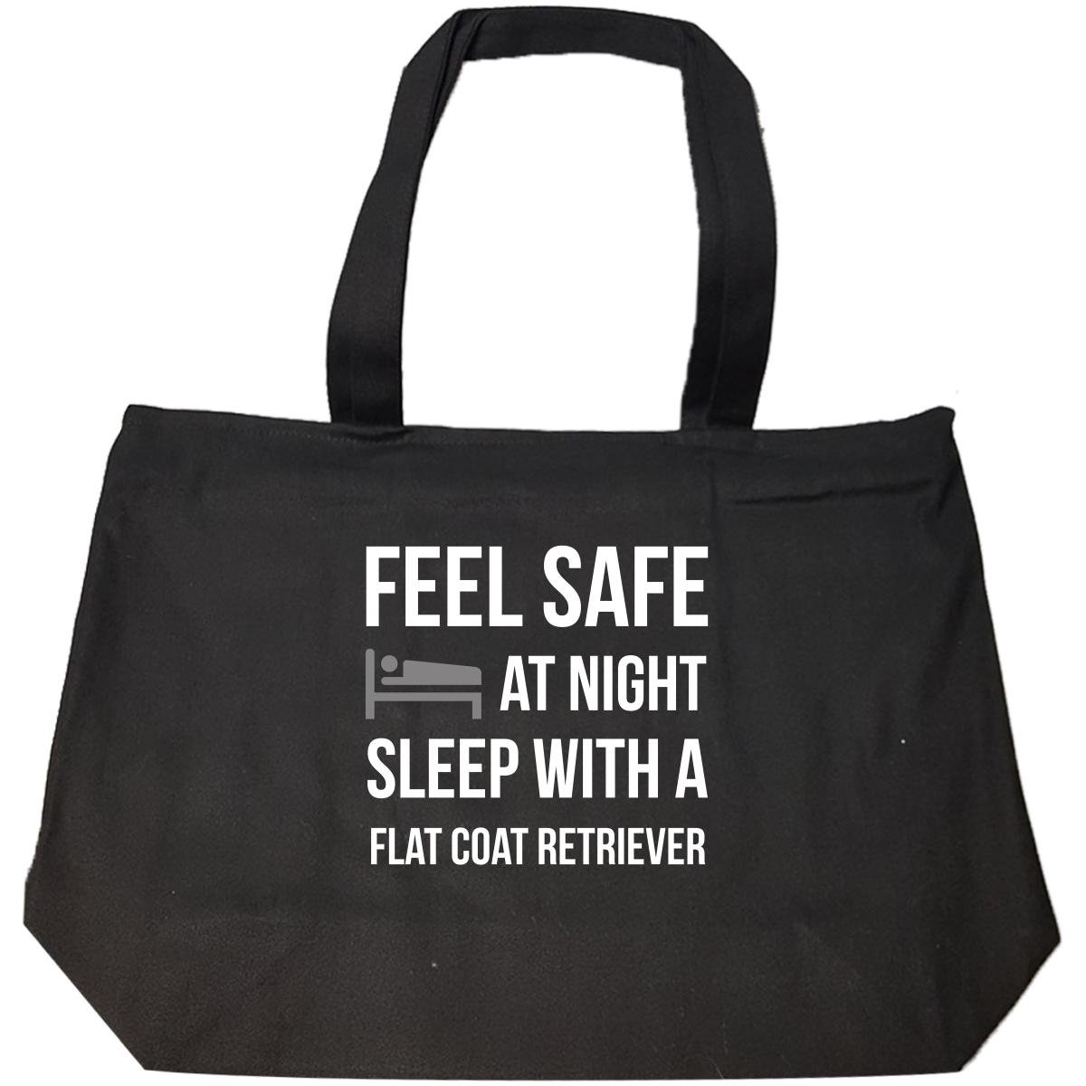 Feel Safe At Night Sleep With A Flat Coat Retriever Dog - Tote Bag With Zip