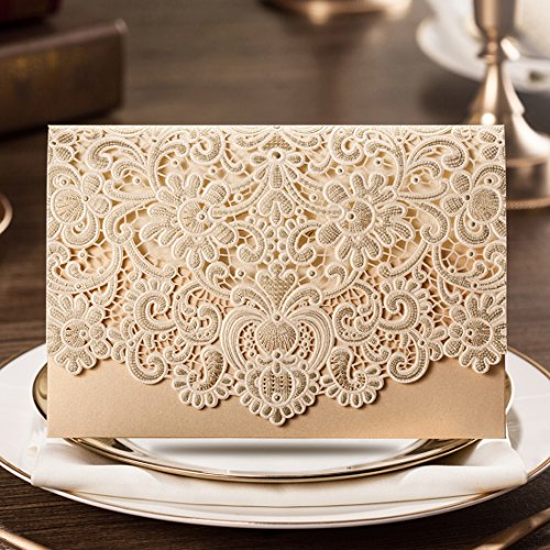 Wishmade 100x Horizontal Laser Cut Gold Wedding Invitations Cards Kits with Hollow Flora Favors Pearl Paper Cardstock(Set of 100pcs) - Double Invitation Envelopes