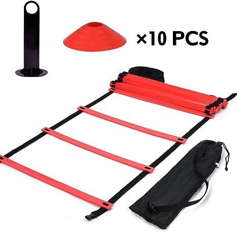 Kit de Escalera de Agilidad Velocidad de Entrenamiento de Velocidad 9Ft Escalera Plana + 10 Unidades de Conos de Disco para Coordinación Entrenamiento Atlético (rojo): Amazon.es: Deportes y aire libre