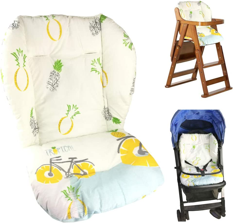 Baby StrollerCarHigh Chair Seat Cushion Liner Mat Pad Cover Protector Breathable(Pineapple Pattern)