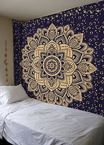 (AUNERCART New Launched Blue Gold Passion Ombre Mandala Tapestry Beach Throw Bohemian Mandala Tapestry Wall Hanging Gypsy Art Tapestry Golden Color Big Flower Tapestries Twin Size 85 X 55 Inches )