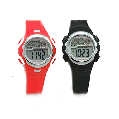 2 Pack Children's black and Red Sports Digital Watches