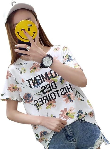 SBL Moda de Verano Camiseta de Media Manga para Mujer, con Cuello ...