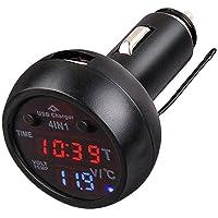 Timloon Cargador de coche USB 2.1A, termómetro, voltímetro