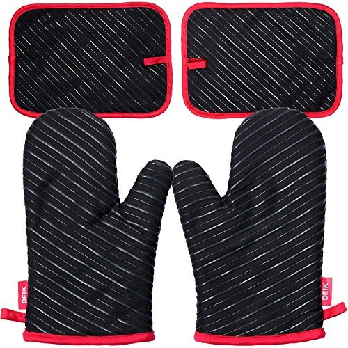 Oven Mitts and Potholders  DEIK 4-Piece Sets for Kitchen Counter Safe Mats and Advanced Heat Resistant Oven Mitt, Non-Slip Textured Grip Pot Holders, Nano- technology by d (Image #3)