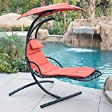 Cheap Belleze Hanging Chaise Lounger Chair Arc Stand Air Porch Swing Hammock Chair Canopy (Orange)