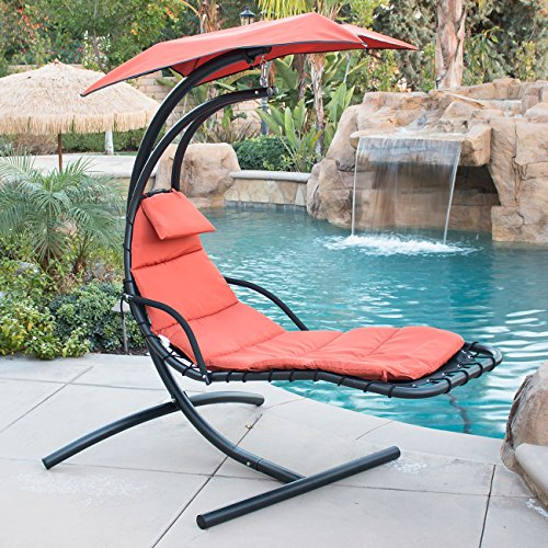 Belleze Hanging Chaise Lounger Chair Arc Stand Air Porch Swing Hammock Chair Canopy Orange